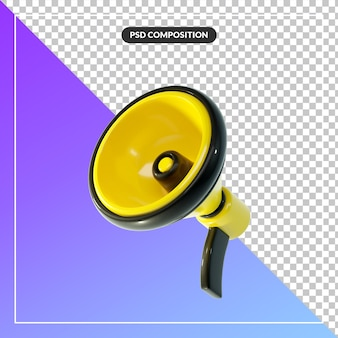 3d cartoon megafone isolado