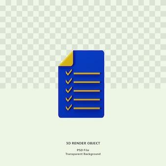 3d checklist note icon illustration object renderizado premium psd