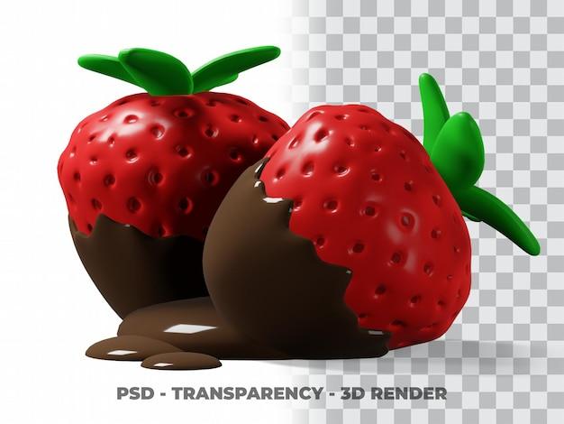 3d chocolate morango fofo com fundo transparente