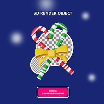 3d christmas red e green candy ribbon objeto ilustração renderizada