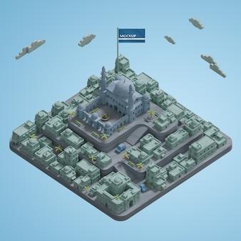 3d cidades paisagem edifícios miniatura