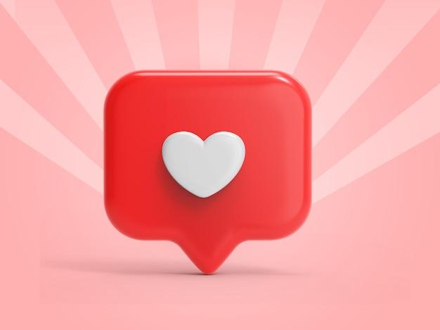 3d como renderização de ícones para notificações de mídia social