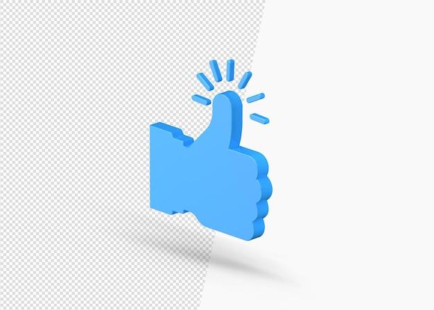 3d como símbolo ou polegar para cima ou ícone recomendado