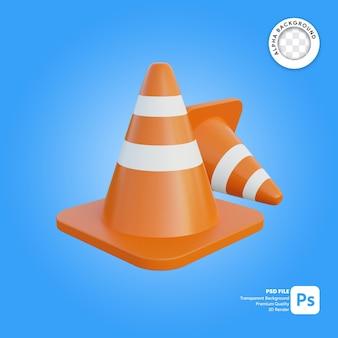 3d cone de tráfego dois objetos simples