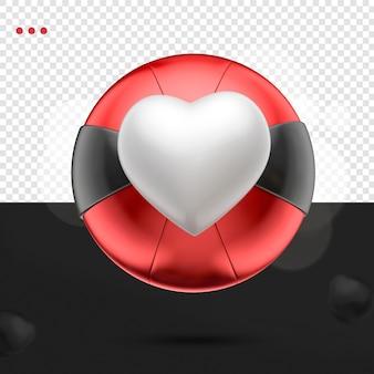 3d coração como uma bola vermelha preta