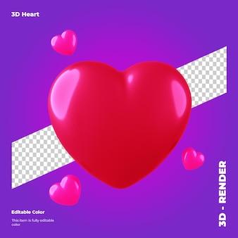 3d coração dos namorados isolado
