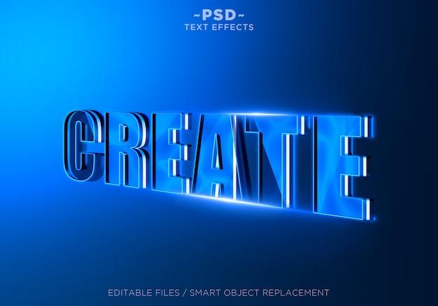 3d criar efeito de texto editável azul