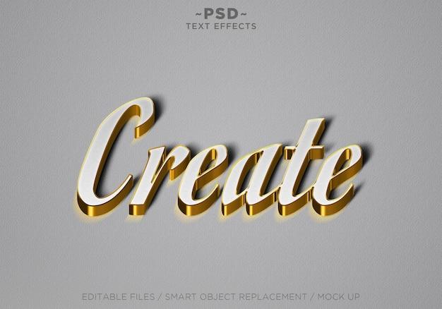 3d criar efeito de texto editável em ouro branco