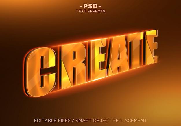 3d criar efeito de texto editável laranja