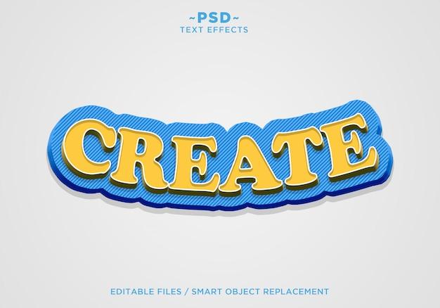 3d criar texto editável de efeito amarelo azul