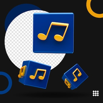 3d cubo de música várias posições isoladas