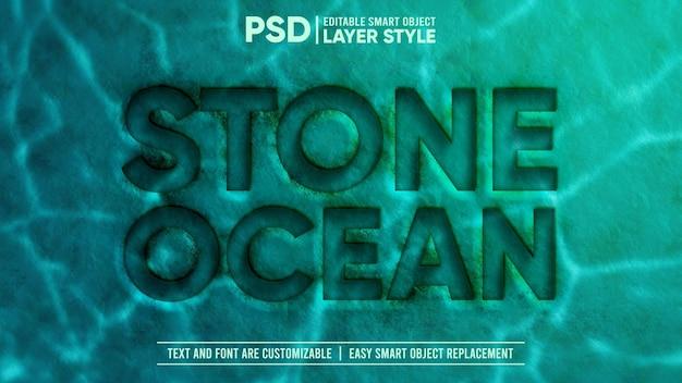 3d deep underwater stone press em relevo efeito de texto de objeto inteligente editável