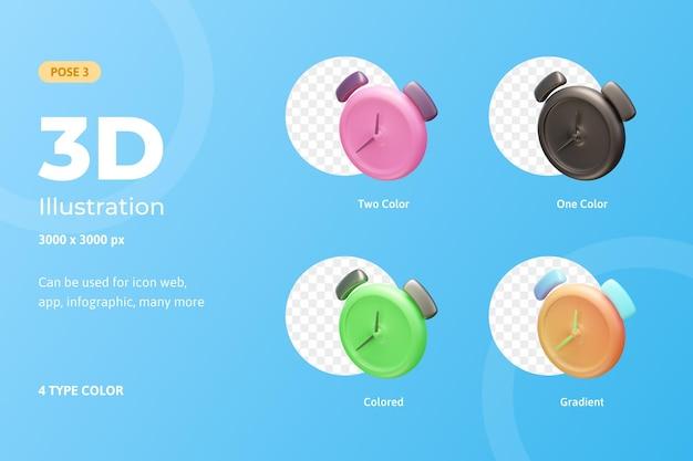 3d definir ícone de ilustração despertador, usado para web, aplicativos móveis, infográfico, etc.