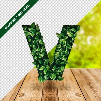 3d efeito folha alfabeto v com fundo transparente