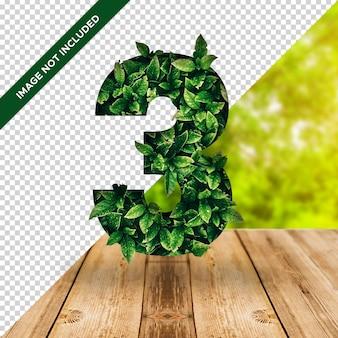 3d efeito folha número 3 com fundo transparente