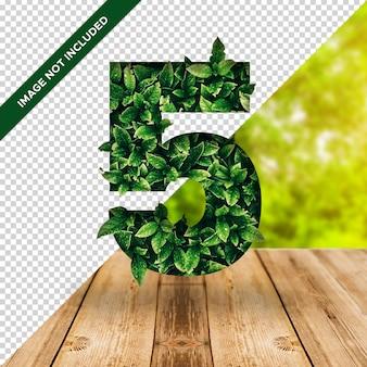 3d efeito folha número 5 com fundo transparente