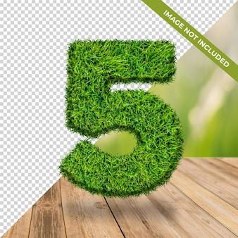 3d efeito grama número 5 com fundo isolado