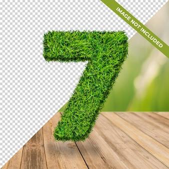 3d efeito grama número 7 com fundo isolado