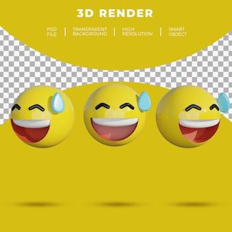 3d emoji mídia social rosto alegre risada suor render desajeitado