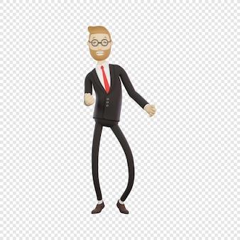3d empresário com óculos dançando regozijando-se no trabalho sucesso 3d personagem