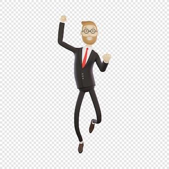3d empresário com óculos mostra alegria sucesso no trabalho salto para alegria isolado personagem 3d