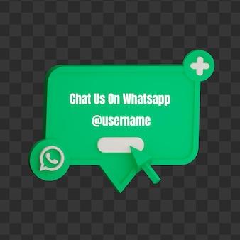 3d entre em contato conosco no whatsapp mock up de nome de usuário de mídia social
