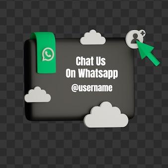 3d entre em contato conosco no whatsapp nome de usuário de mídia social simulado com quadrado e nuvem