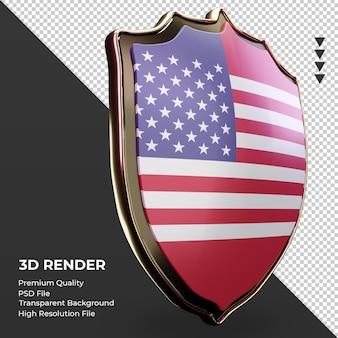 3d escudo américa bandeira renderizando vista esquerda