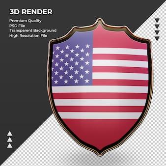 3d escudo américa bandeira renderizando vista frontal