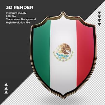 3d escudo bandeira do méxico renderização vista frontal