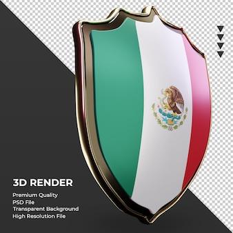 3d escudo bandeira do méxico renderizando vista esquerda