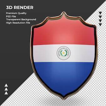 3d escudo bandeira do paraguai renderizando vista frontal