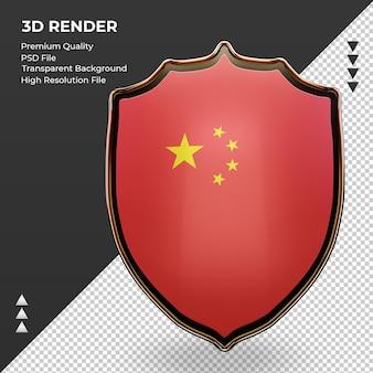 3d escudo china bandeira renderizando vista frontal