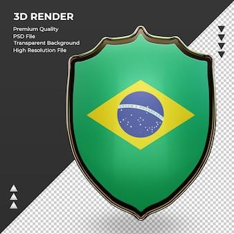 3d escudo vista frontal da bandeira do brasil