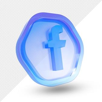 3d facebook logo vidro acrílico isolado