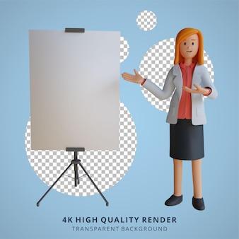 3d feminina médica apresentando a ilustração de personagem da placa
