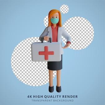3d feminina médica usando uma máscara segurando uma bolsa médica ilustração de design de personagens