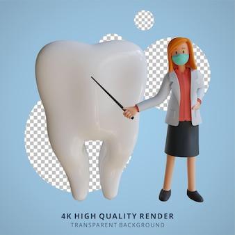 3d feminino médica usando uma máscara apresentando a ilustração de design de personagens do setor odontológico