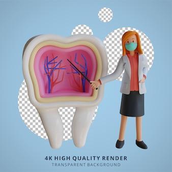 3d feminino médica usando uma máscara apresentando o interior da ilustração do design de personagens do dente