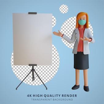 3d feminino médica usando uma máscara apresentando uma ilustração de design de personagem de folha branca em branco