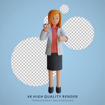 3d feminino médico segurando ilustração de personagem de injeção de vacina