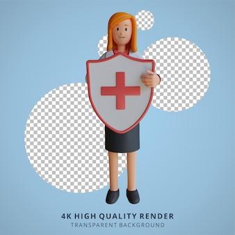 3d feminino médico segurando uma ilustração de personagem de escudo de saúde