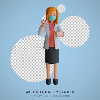 3d feminino médico usando uma máscara segurando uma ilustração de design de personagem de injeção de vacina