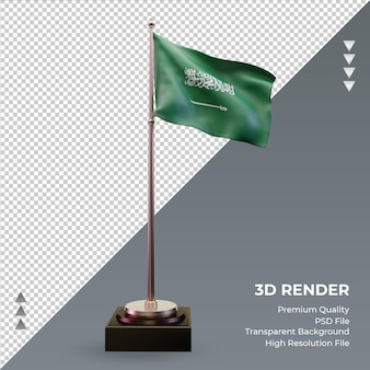 3d flag arábia saudita renderizando vista frontal
