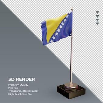 3d flag bósnia e herzegovina renderizando a vista esquerda