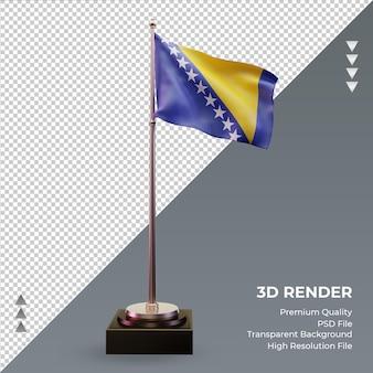 3d flag bósnia e herzegovina renderizando vista frontal