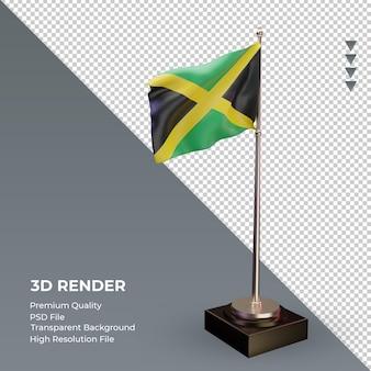 3d flag jamaica renderizando a vista esquerda