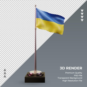 3d flag ucrânia renderizando vista frontal
