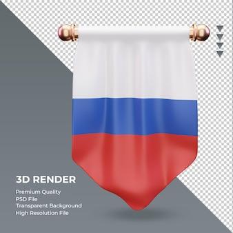 3d flâmula da bandeira russa renderizando vista frontal Psd Premium