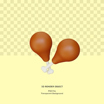 3d frango thight meat illustratin object renderizado premium psd